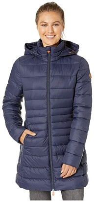 Save The Duck Giga 9 Puffer Coat with Removable Hoodie (Navy Blue) Women's Clothing