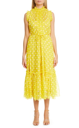 Zimmermann Brightside Polka Dot Silk Chiffon Midi Dress