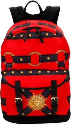Versace Men's Bondage Nylon/Leather Medusa Head Backpack