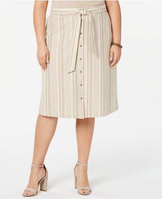 Bar III Trendy Plus Size Striped Button Front Midi Skirt