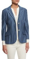 Loro Piana Giacca Shannen St. Louis Jacket, Bleached Sky/White