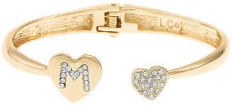 Liz Claiborne Gold Tone Solid Heart Bangle Bracelet