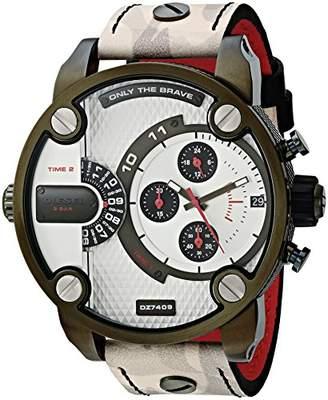 Diesel Men's Little Daddy Stainless Steel Quartz Watch with Leather Calfskin Strap