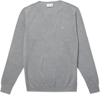 Lacoste Pique Cotton Knit Crew Neck Jumper Ah 4082 Silver Grey - 3/Small