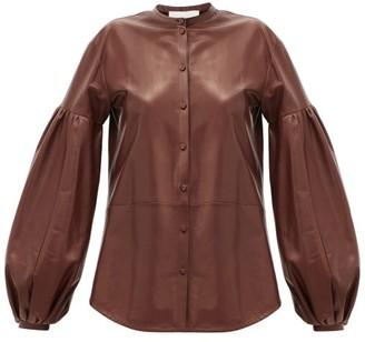 Jil Sander Balloon-sleeve Leather Shirt - Brown