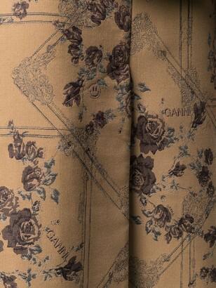 Ganni brocade jacquard A-line midi skirt