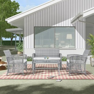 Dovecove 4 Pieces Rattan Complete Patio Set with Cushion Frame Color: Gray