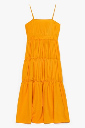 Nasty Gal Womens It'll End in Tiers Plus Maxi Dress - Mustard