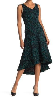 Catherine Malandrino Paisley V-Neck Fit & Flare High/Low Midi Dress