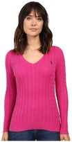 U.S. Polo Assn. Donegal Cable V-Neck Sweater