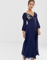 Little Mistress floral embroidered midaxi skater dress in navy