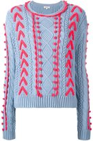 Manoush cable knit woven detail jumper