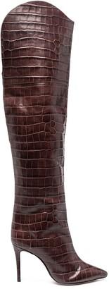 Schutz Embossed Croc Knee-Length Boots