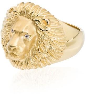 Kimberly Mcdonald 18kt yellow gold lion head diamond ring