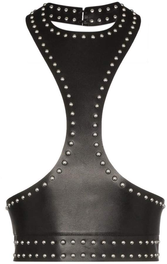 Alexander McQueen black sleeveless studded leather harness