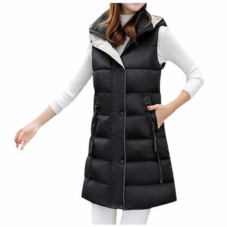 Lazzboy Women Lazzboy Down Coat Womens Gilet Hooded Cotton Quilted Lined Solid Casual Slim Pocket Chunky Warm Sleeveless Jacket Parka Outwear (UK 14