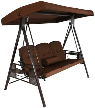 Sunnydaze 3-Person Steel Frame Outdoor Canopy Swing With Side Tables
