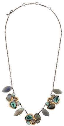 Alexis Bittar Labradorite, Green Amethyst & Crystal Bib Necklace