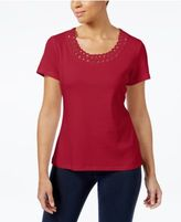 Karen Scott Cotton Embellished T-Shirt, Only at Macy's