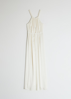 Raquel Allegra Women's Crepe Back Satin Keyhole Dress in Cream, Size 1 | Viscose/Rayon
