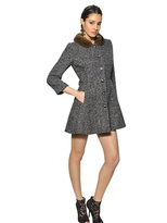 Dolce & Gabbana Wool Herringbone Coat With Mink Collar