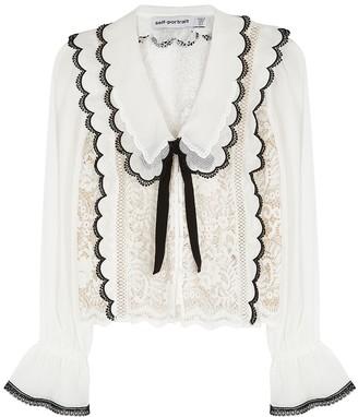 Self-Portrait White panelled chiffon and lace blouse