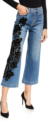 7 For All Mankind Alexa Cropped Embroidered High-Rise Jeans