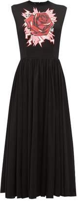 Prada Electric Rose-print Cotton Midi Dress - Womens - Black Print