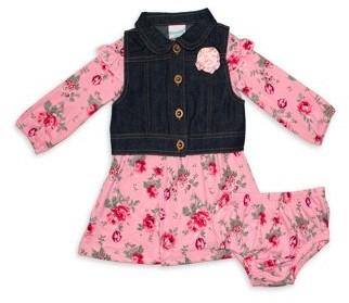 Nannette Baby Girls' Floral Dress, Denim Vest, & Diaper Cover, 3-Piece Set