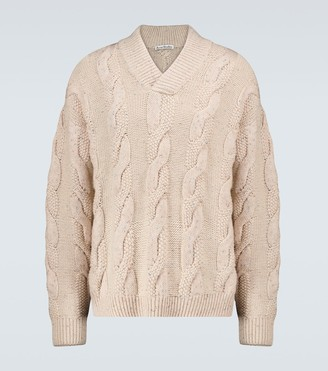 Acne Studios Karakia V-neck cable-knitted sweater