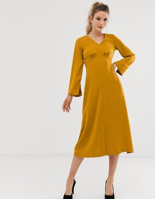 Closet London Closet v neck empire waist dress-Yellow