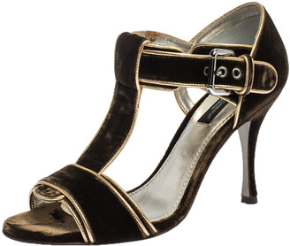 Dolce & Gabbana Dark Brown/Gold Velvet And Leather Trim T-Bar Sandals Size 37