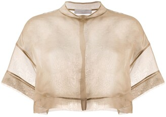 Fabiana Filippi Sheer Silk Cropped Blouse