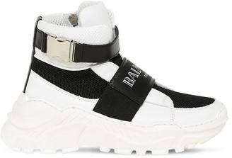 Balmain Faux Leather & Mesh High Top Sneakers