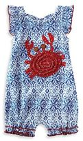 Mud Pie Size 12-18M Flutter Sleeve Crab Bubble Romper in Blue/Red