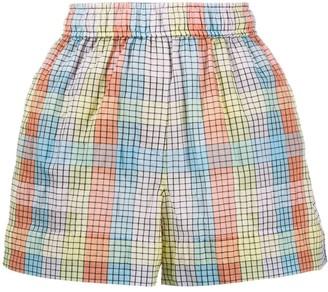Ganni Check-Print Seersucker Shorts