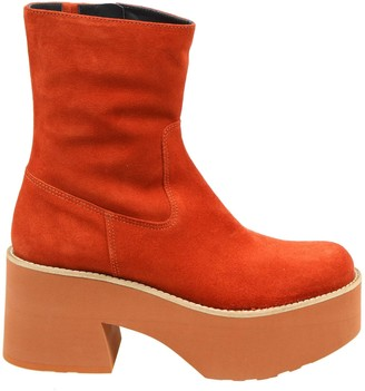 Paloma Barceló Covil Ankle Boot In Suede And Rust Color