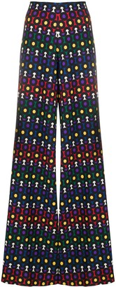 Alice + Olivia Geometric Wide-Leg Trousers