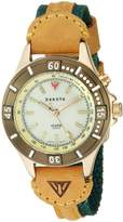 Dakota Women's Quartz Metal and Leather Watch, Color:Tan/Green (Model: 27305)