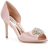 Badgley Mischka Dana Rhinestone-Embellished Satin d'Orsay Pumps