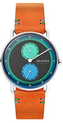 Skagen Limited Edition Horizont Dual Timezone Leather Watch (Brown) Watches