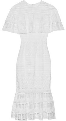 Lela Rose Embellished Open-knit And Guipure Lace Midi Dress