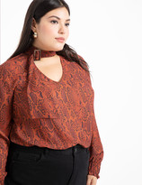 ELOQUII V-Neck Blouse with Tie Neck