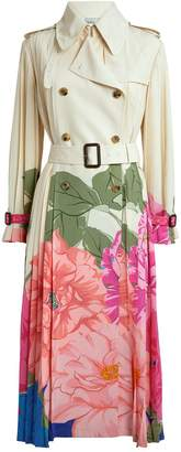 Valentino Pleated Floral Trench Coat
