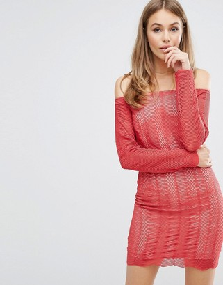 Keepsake Think Twice Lace Dress-Red