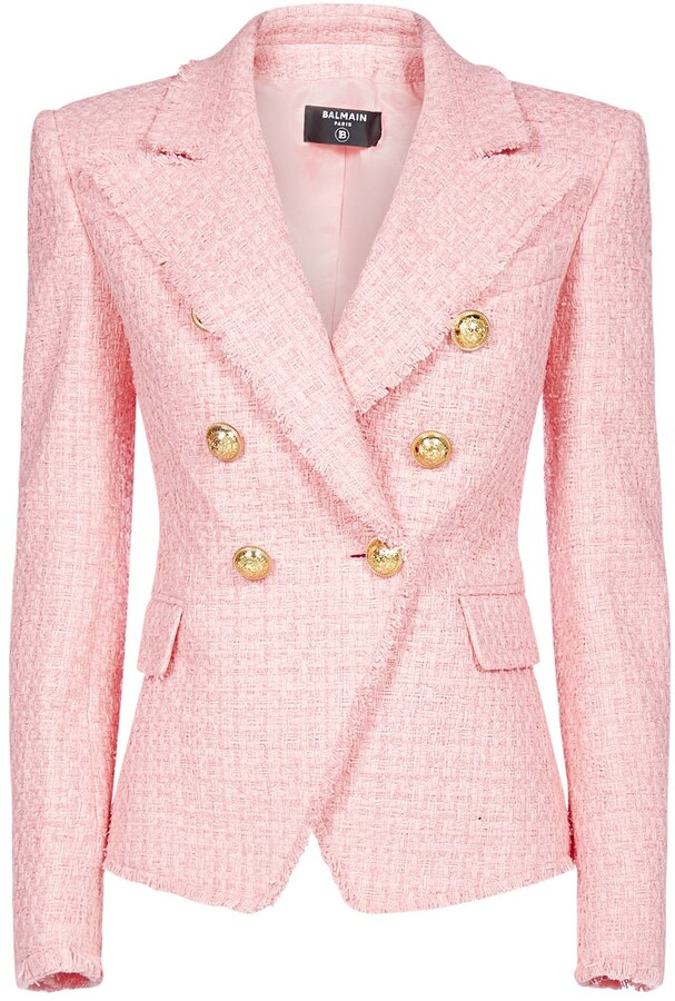 Thumbnail for your product : Balmain Boucle Double-Breasted Tweed Blazer
