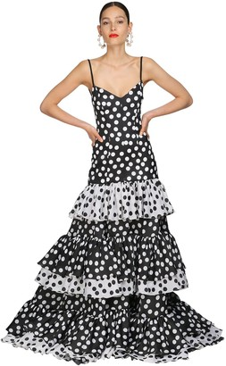 Carolina Herrera Printed Silk Taffeta Long Dress