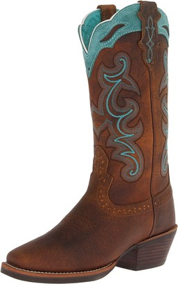 "Justin Boots Women's Silver Collection 12"" Punchy Boot Wide Square Single Stitch Brown Rubber Outsole"