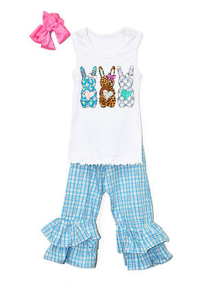 Beary Basics Girls' Casual Pants WHITE/BLUE - White & Blue Patterned Bunny Trio Tee Set - Toddler & Girls