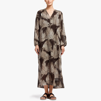 James Perse Palm Print Maxi Shirt Dress